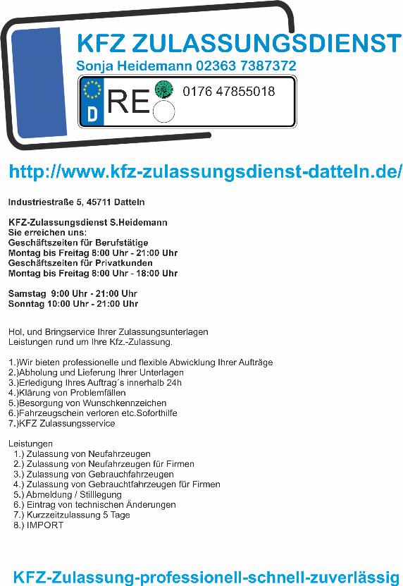 Kfz Zulassung Kfz Zulassungsdienst Kreis Recklinghausen